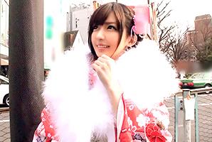 (成人式キャッチ)晴れ着姿がカワイすぎる美巨乳女子大学生を即ハメ☆