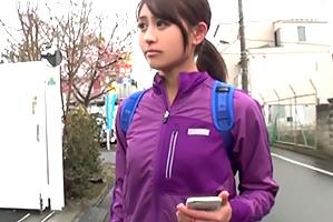 (シロウト)日課のランニングをしてた美巨乳体育大生と下宿先でsex☆