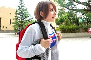 (シロウト)早稲田大学の学内で身長147cmのロケット乳チア部をキャッチ☆